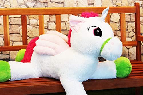KAMACA XXL Plüsch EINHORN mit toller Optik und rosa Flügeln liebenswertes Kuscheltier Plüschtier dein neuer softweicher Freund (XXL Einhorn 85 x 48 x 30 cm) (Teddy Unicorn Bär)