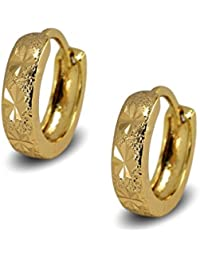 Blue Diamond Club - 24ct Gold Filled Womens Textured Hoop Earrings 25mm dnd6IB