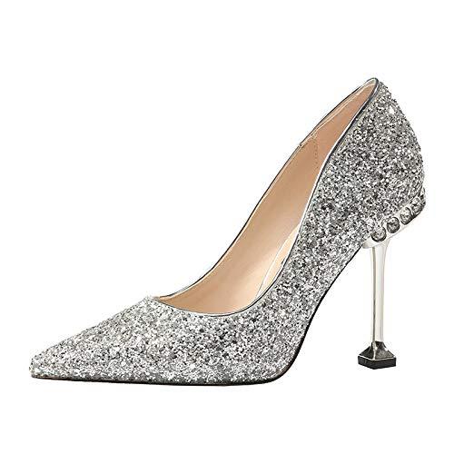 FLYRCX Silber Pailletten Kristall High Heels weiblich gut mit Strass Katze mit flachem Mund Spitze...