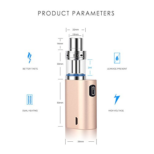 Electronic Cigarettes, JOMO Lite Mini 35W Vape Pen Kit E Shisha Box Mod Pyrex Glass Tank 1000mah USB Charging, No Liquid No Nicotine, E Cigarette Ecigs | Gold