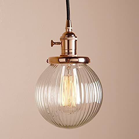 Pathson 15cm Industrial Vintage Modern Loft Bar Kitchen Island Switch Pendant Light Edison Hanging Ceiling Lamp Lighting Chandelier with Ribbed Globe Clear Glass Light Shade (Copper)