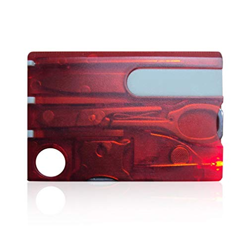 HDCooL Outdoor Survival Stainless Steel Multi Tools Set Credit Card Size Kit Tool in Red