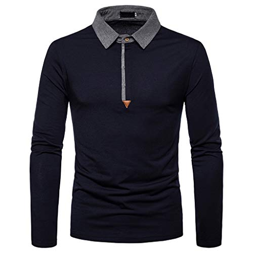 Xmiral Herren Sweatshirt Casual Slim Print Langarm Umlegekragen Plain Polo Shirt (XXL, Y Marine Blau)