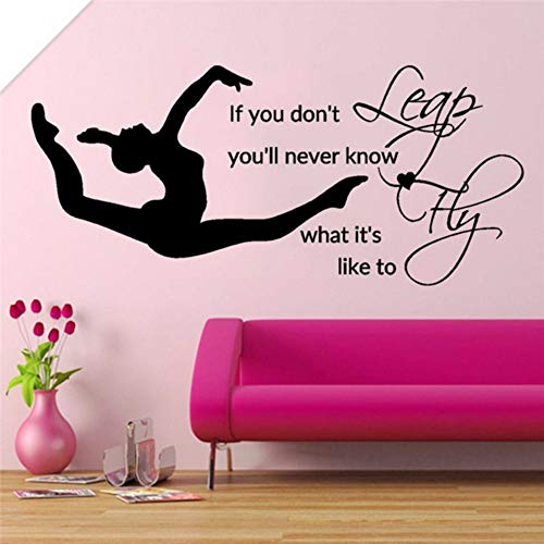 yologg 26x56 cm salto mosca ragazza camera da letto decalcomania in vinile adesivi biancheria da letto decorazioni citazioni sport art stencil per pareti fai da te