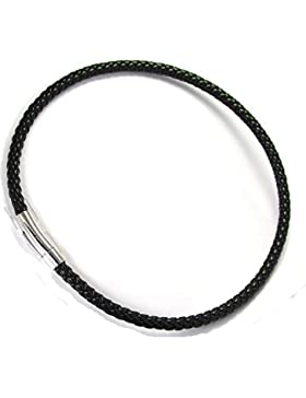 Herren Lederhalsband geflochten 6,5mm schwarz 54cm Edelstahl Verschluss