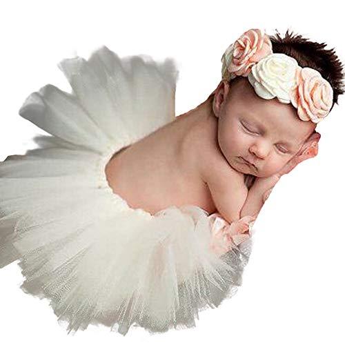 H.eternal Tütü Rock Pettiskirt + Stirnbänder verknotete Head Wraps Baby Mädchen Prinzessin Party Foto Kostüm Fotografie Prop Geburtstag Geschenk - Baby Schnee Weiß Prinzessin Kostüm