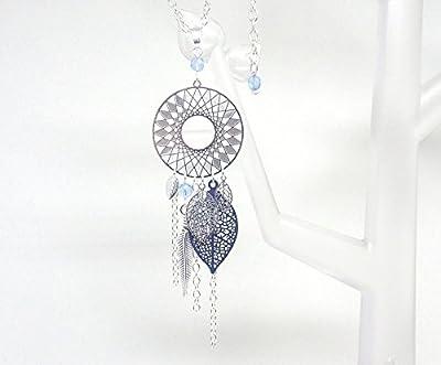 Sautoir long collier attrape-rêves dreamcatcher plume feuilles argenté bleu marine bleu clair perles verre de Bohême