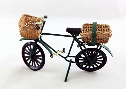 MUFFIN LODGE Puppenhaus Miniatur handgefertigt 1:12 1940's Kinder Fahrrad mit Korb und Umhängetasche