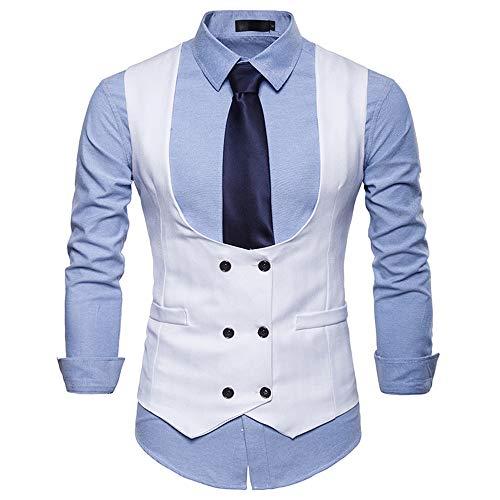 New York Tweed-jacke (Sannysis Anzugweste Herren Herbst Winter Formale Zweireiher Weste Slim Fit Hochzeit Feierlich Elegant Weste Jacke Top Coat)