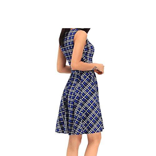 PU&PU Casual des femmes / sortir Vintage High Waist A Line Skater Dress, encolure ronde sans manches red