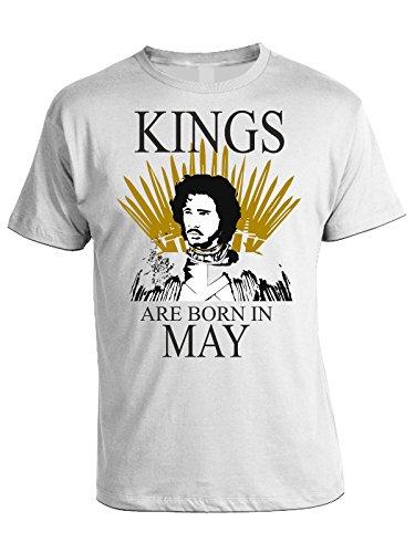 Tshirt compleanno Kings are born in May - i Re sono nati a Maggio - Game of Thrones - Il trono di spade - idea regalo - eventi - in cotone Bianco