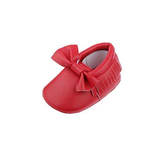 Bébé Enfants Chaussures Premiers Pas avec Bowknot Mocassin en Cuir Doux Crèche - Argent, 12cm Rouge