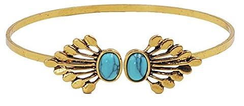 La vogue Vintage 925 Sterling Versilber Armband Bracelets Türkis oval Silber Rand (Gold) (1 Oval-türkis-armband)