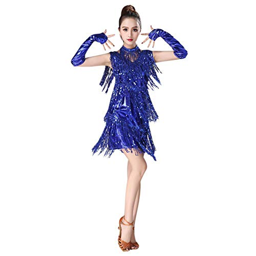 Gyratedream Latin Kleider Damen Wettbewerb Kostüme Pailletten Quaste Kleid Ballsaal Salsa Samba Rumba Karneval Tanzen (Tanz Kostüm Latein Wettbewerbe)