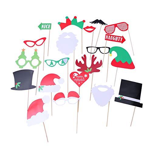 PRETYZOOM 20 stücke Kreative Weihnachten Foto Requisiten Kit DIY Lustige Weihnachten Selfie Requisiten Zubehör für Erwachsene Kinder Party Favors Dekoration Lieferungen (Fotos Diy Weihnachten)