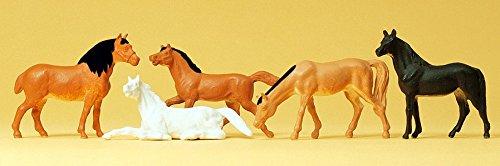 Preiser 14150 Pferde 5 Figuren Spur H0 1/87