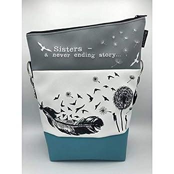 Handtasche Sisters a never ending Story türkis Tasche Foldover Schultertasche