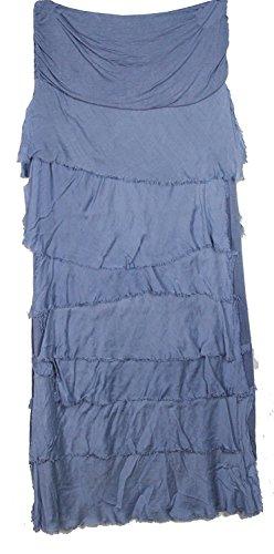 MIXLOT Femmes Italian Lagenlook Quirky Effet Couché Ruffle Frill Tiered Silk Dames Long Jupe Maxi Denim