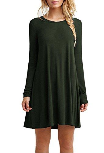 Damen Frühling Sommer Reizvolle Langarm Loose Minikleid Lässig Rundkragen Blusenkleider Einfarbig Freizeitkleider Sommerkleider Strandkleid Grün