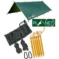 Planet Gear Camping Tarp Shelter 3m x 3m | Lightweight Waterproof Rain Tarpaulin| Hiking, Hammock, Backpacking, Picnic | 6 Aluminium Ultralight Pegs, 8 Ropes