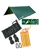 Planet Gear Camping Tarp Shelter 3m x 3m | Lightweight Waterproof Rain Tarpaulin|