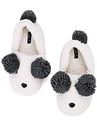 QCHOMEE Chaussons en Laine Panda Femmes Filles Pantoufles d  Intérieur Hiver  Automne Thermique Chaussure Mule Doux Antidérapant… 7b420f777579