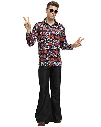 Herren 70er Jahre Typ Kostüm, Oberteil und Hose/Damen 70er Dancing Queen Kostüm, Nackenträger Catsuit,Herren(Shirts+Pants),XL