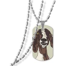MAMA LAZCNYQL Women Goat Head Pattern Necklace Pendant Jewelry Army Card Dog Tag Great Gift