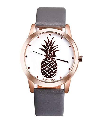 Koedu Uhr Ananas Frauen sehen weißes Zifferblatt Teen Girl Armbanduhr Leder Size one Size (Grey)
