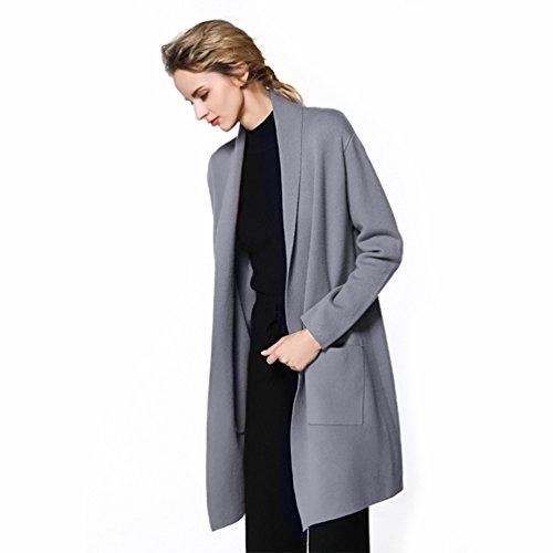 Yuncai Moda Tinta Unita Donna Lungo Cardigan di Maglia Tempo Libero Maniche Lunghe Maglione Cappotto Grigio