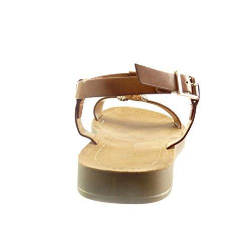 Angkorly - Sandali Scarpe Da Donna - T-brace - Aperto - Pelle Di Serpente - Intrecciato - Tacco Metallico Alto 2 Cm Cammello