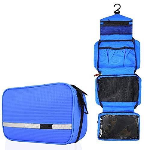 Kulturbeutel Reise Kulturtasche zum Aufhängen, Wasserfest Waschtasche Faltbar mit 4 Fächern für Frauen Damen Männer Herren, Multifunktionale Kosmetiktasche mit 2er Reisezahnbürste (Blau) -