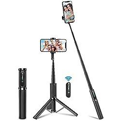 BlitzWolf Perche Selfie Bluetooth, Aluminium Léger Tout en Un Baton Selfie Trépied avec Télécommande Amovible Rechargeable, Selfie Stick Extensible pour iPhone, Samsung, Galaxy, Huawei et Plus - Gris