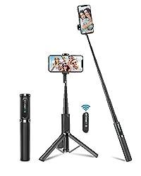BlitzWolf Bluetooth Selfie Stick Stativ, Aluminium All-In-One Monopod Wireless Selfie-Stange Stab mit Bluetooth Fernbedienung für iPhone 11/11 Pro/11 Pro Max/XS/XS Max/XR/X/8, Samsung, Huawei(Grau)