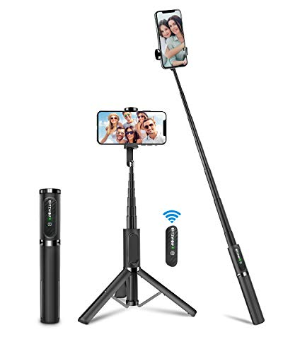 BlitzWolf Bluetooth Selfie Stick Stativ, Aluminium All-In-One Monopod Wireless Selfie-Stange Stab mit Bluetooth Fernbedienung für iPhone 11/11 Pro/11 Pro Max/XS/XS Max/XR/X/8, Samsung, Huawei(Grau)