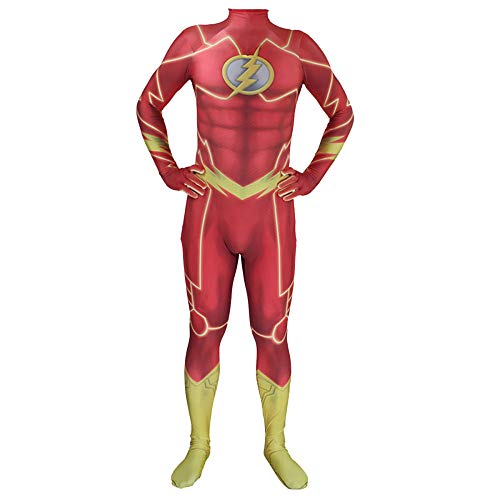 QQWE Das Flash Cosplay Kostüm Kostüm Halloween Weihnachten Film Requisiten Themed Party Body Jumpsuits Attire,Adult-XL