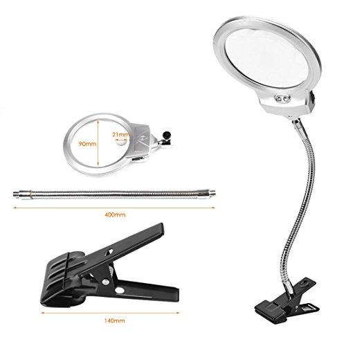 Rightwell Lupenleuchte Tisch Lupe Lampe mit 2 LED Lichters-2X,6X Klemmlupe mit der Starken Klammer Einem Tisch befestigen es zum Lesen,aber auch für handwerkliche Arbeiten - 7
