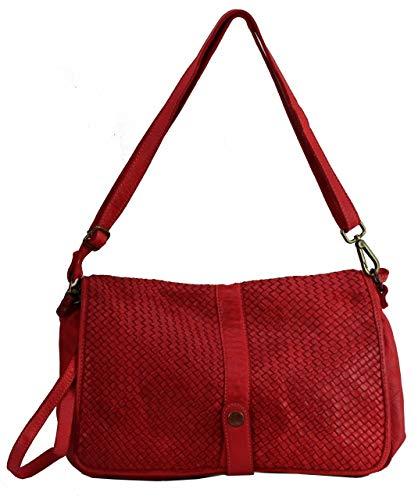 BZNA Bag Lola Rot rosso Italy Designer Clutch Umhängetasche Damen Handtasche Schultertasche Tasche Leder Shopper Neu