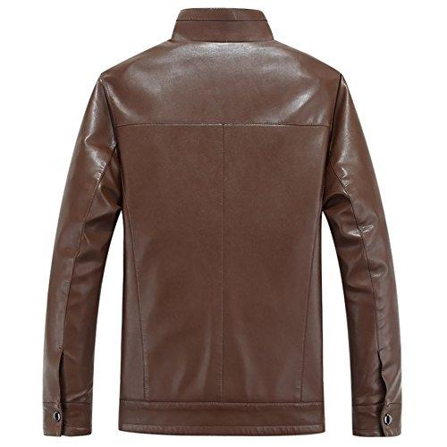 Korean Herren Fashion Casual Leder Jacke PU Leder Mantel Braun