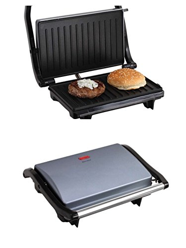 Kontaktgrill Deckel Sandwich-Maker 700 Watt Grill Thermogriff (Sandwich-Toaster, Multigrill, Tischgrill, Panini-Maker, Elektrogrill, Grillplatte 22 x 14 cm)