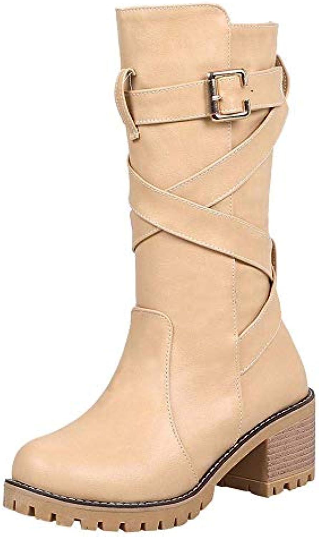 ZHRUI Martin stivali donna scarpe Fashion Zeppe a Testa Tonda Stivaletti Middle Tube Stivali con Fibbia in Pelle... | caratteristica  | Uomo/Donne Scarpa
