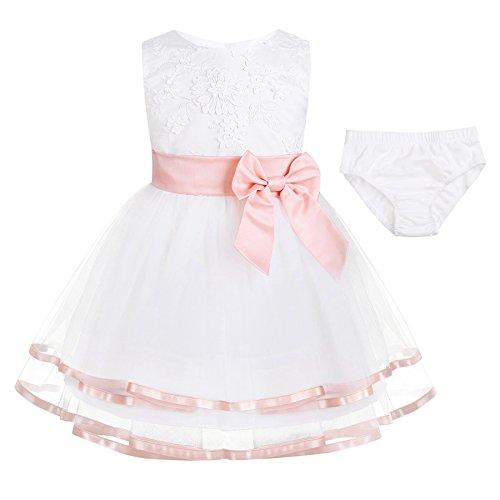 c7fe211492a iiniim Robe Princesse Baptême Fête Partie Courte Bébé Fille Brodé Fleurs 3D  Coton sans Manches Boutons