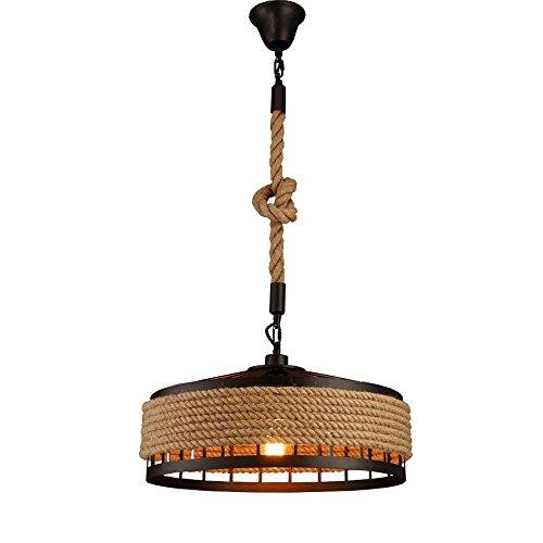 Addison Lampe suspendue Rétro style industriel Corde torsadée Vintage Éclairage Edison clair E27 Suspension en jute pour salle à manger Abat-jour en métal noir (Diamètre 30 cm)