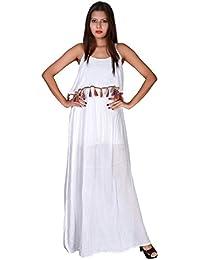 2fa51e02cd Secret Bazaar Women s Solid Plain Print Beautiful White Rayon Crepe Full  Length Dress
