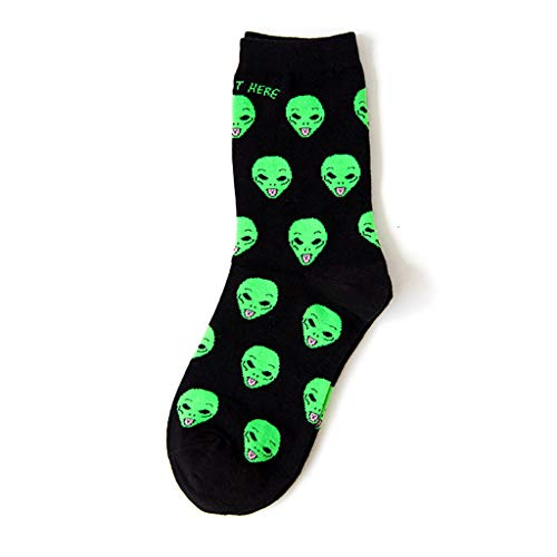 NNGUBIU New Cotton Socks Art Funny Alien Planet Creative Funny Cartoon Cat Breathable Fashion Unisex Socks