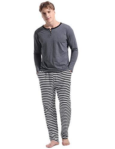 Abollria Herren Schlafanzug lang Zweiteiliger Winter Langarm Baumwolle Nachtwäsche Langarmshirt & Hose aus weicher Baumwolle Herren-Pyjamas für Herren Nachtwäsche Loungewear - Pyjama-hose Loungewear