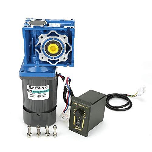 AC-Getriebemotor, 220 V, 120 W Schneckengetriebemotor 5M120GN-RV40 Selbsthemmend, 1400 U/min, Geschwindigkeit einstellbar, Getriebemotor im Uhrzeigersinn/gegen den Uhrzeigersinn mit Regler(50K)