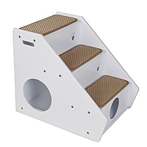 Petsfit Hölzerne Haustier Treppe, 3 Schritte Hundetreppe, Sisal Schritt, 56 x 43 x 51cm , weiß