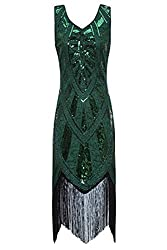 Metme 1920s Vintage Inspired Fringe Embellished Gatsby Flapper Midi Dress Prom Party (S, Green)