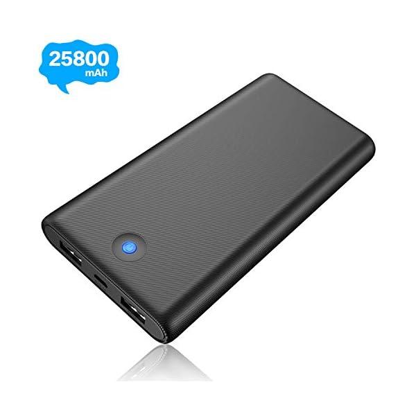 iPosible Power Bank,【Pulsanti Che Cambiano Colore-25800mAh】 Caricabatterie Portatile Batteria Esterna 2 Porte USB Uscita… 1 spesavip